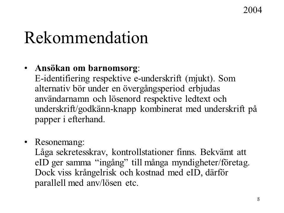 8 Rekommendation Ansökan om barnomsorg: E-identifiering respektive e-underskrift (mjukt). Som alternativ bör under en övergångsperiod erbjudas använda