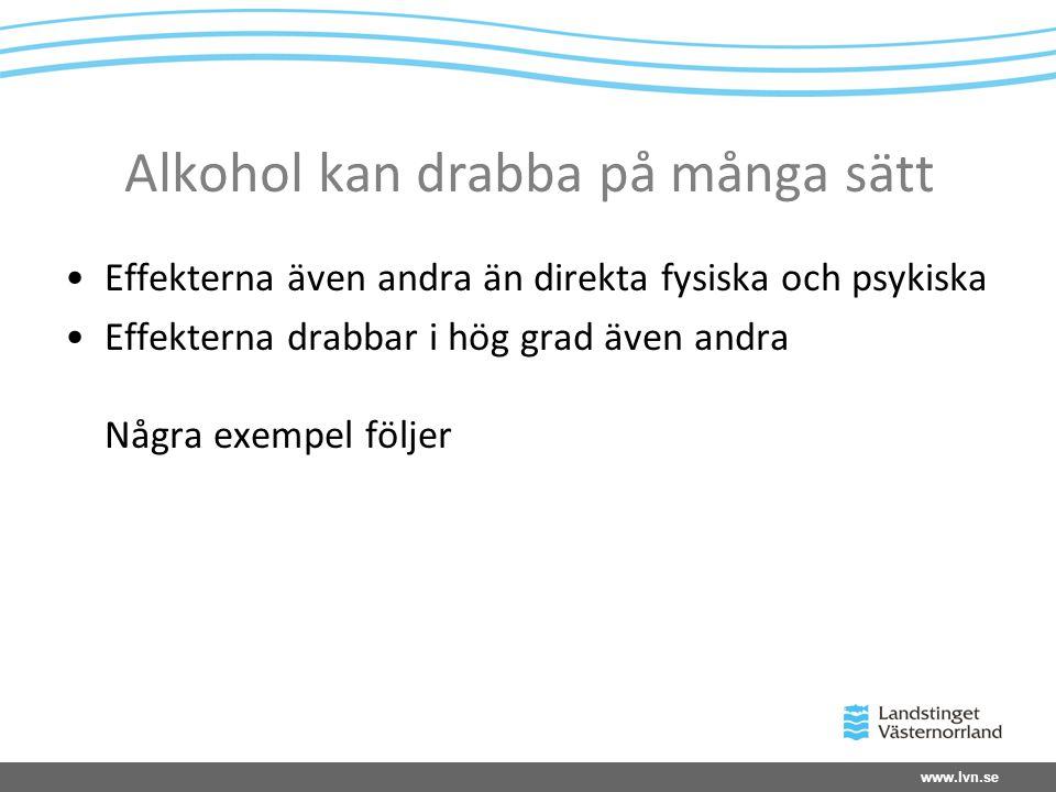 Alkohol kan drabba på många sätt Effekterna även andra än direkta fysiska och psykiska Effekterna drabbar i hög grad även andra Några exempel följer