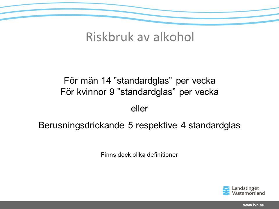 """Riskbruk av alkohol För män 14 """"standardglas"""" per vecka För kvinnor 9 """"standardglas"""" per vecka eller Berusningsdrickande 5 respektive 4 standardglas F"""