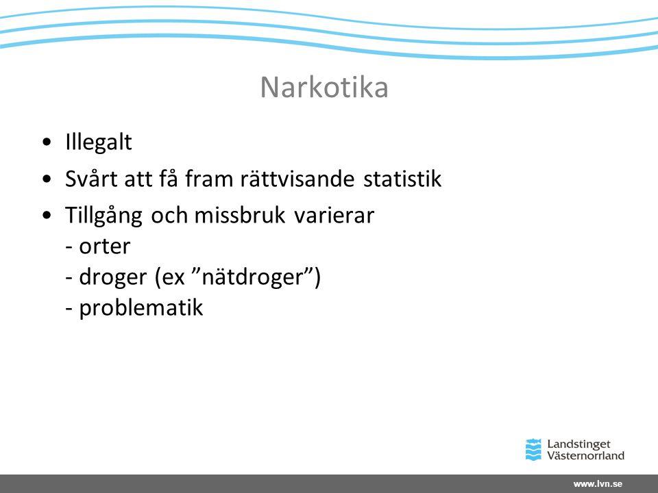 """www.lvn.se Narkotika Illegalt Svårt att få fram rättvisande statistik Tillgång och missbruk varierar - orter - droger (ex """"nätdroger"""") - problematik"""