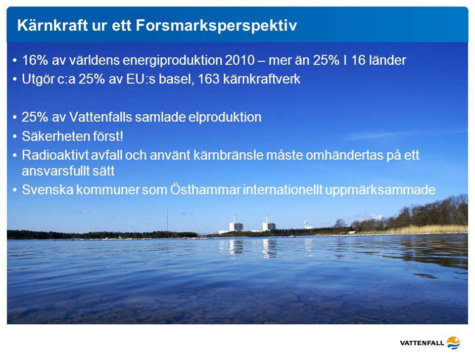 Kärnkraft ur ett Forsmarksperspektiv 16% av världens energiproduktion 2010 – mer än 25% I 16 länder Utgör c:a 25% av EU:s basel, 163 kärnkraftverk 25%