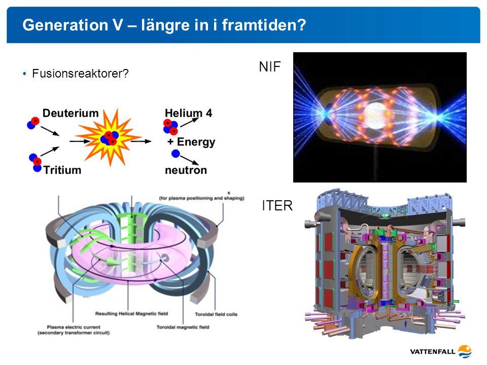 Generation V – längre in i framtiden? Fusionsreaktorer? NIF ITER