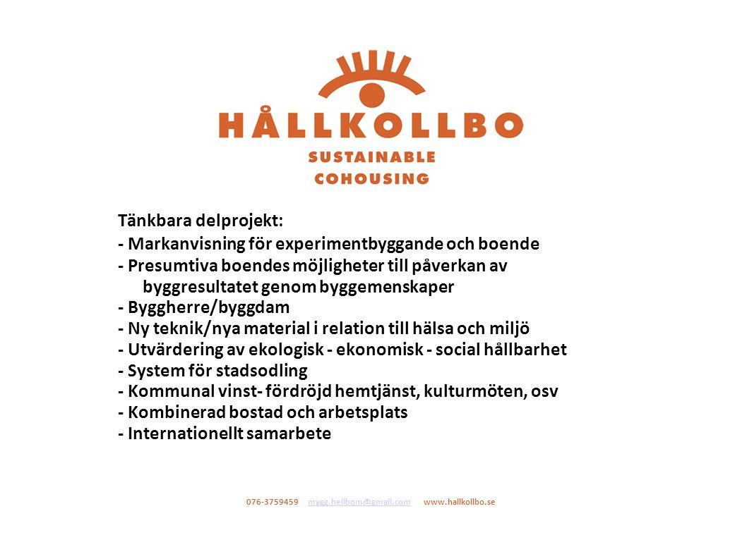 Samverkansgrupp - Susanna Toivanen Docent i Sociologi SU forskare vid NCC - Hans Lind Prof Fastihetsekonomi KTH - Eva Sandstedt Prof Inst för Urban och bostadsforskning UU - Maria Block och Varis Bokalders SAR/MSA Ekologiarkitekter - Eva-Lotta Thunqvist CHB Centrum för Hälsa o Byggnation, KTH - Brukarföreningen HÅLLKOLLBO Sustainable Cohousing - 076-3759459 mygg.hellbom@gmail.com www.hallkollbo.semygg.hellbom@gmail.com
