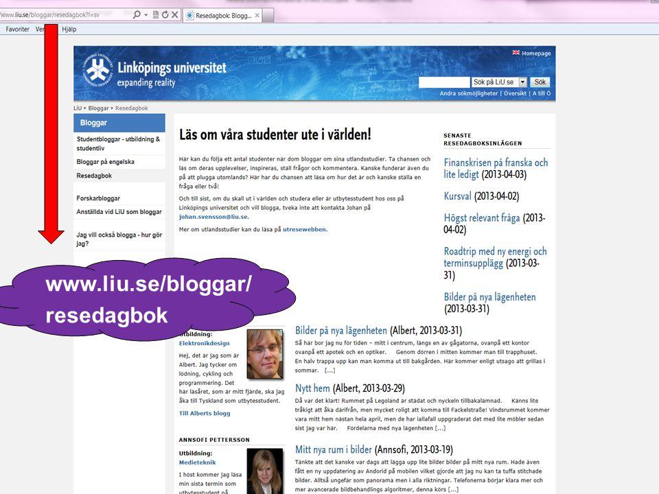 7 www.liu.se/bloggar/ resedagbok