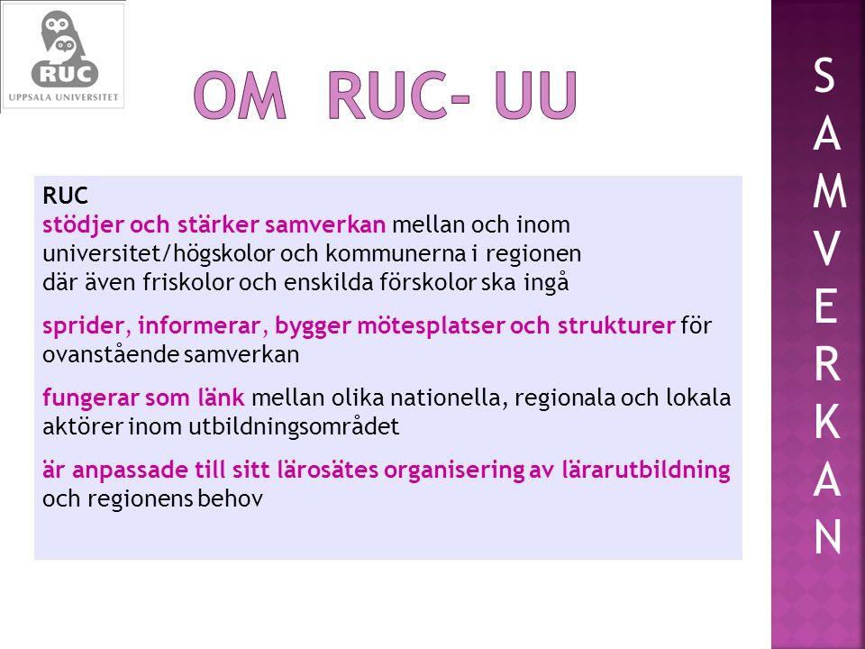 RUC stödjer och stärker samverkan mellan och inom universitet/högskolor och kommunerna i regionen där även friskolor och enskilda förskolor ska ingå sprider, informerar, bygger mötesplatser och strukturer för ovanstående samverkan fungerar som länk mellan olika nationella, regionala och lokala aktörer inom utbildningsområdet är anpassade till sitt lärosätes organisering av lärarutbildning och regionens behov SAMVERKANSAMVERKAN