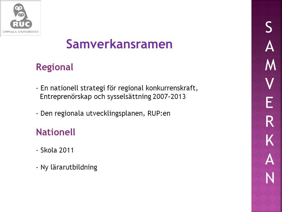 Regional - En nationell strategi för regional konkurrenskraft, Entreprenörskap och sysselsättning 2007–2013 - Den regionala utvecklingsplanen, RUP:en Nationell - Skola 2011 - Ny lärarutbildning SAMVERKANSAMVERKAN Samverkansramen