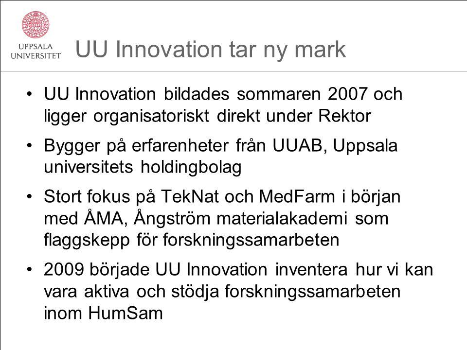 UU Innovation tar ny mark UU Innovation bildades sommaren 2007 och ligger organisatoriskt direkt under Rektor Bygger på erfarenheter från UUAB, Uppsal