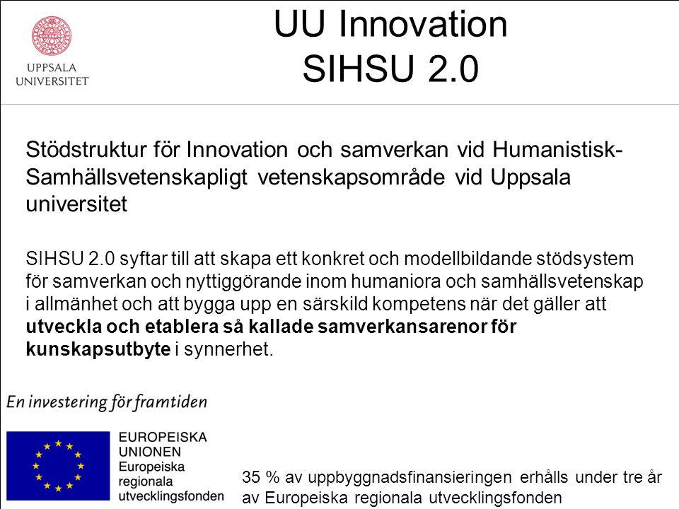 UU Innovation SIHSU 2.0 Stödstruktur för Innovation och samverkan vid Humanistisk- Samhällsvetenskapligt vetenskapsområde vid Uppsala universitet SIHSU 2.0 syftar till att skapa ett konkret och modellbildande stödsystem för samverkan och nyttiggörande inom humaniora och samhällsvetenskap i allmänhet och att bygga upp en särskild kompetens när det gäller att utveckla och etablera så kallade samverkansarenor för kunskapsutbyte i synnerhet.