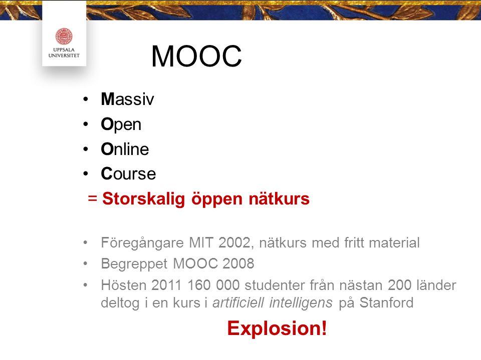 MOOC Massiv Open Online Course = Storskalig öppen nätkurs Föregångare MIT 2002, nätkurs med fritt material Begreppet MOOC 2008 Hösten 2011 160 000 studenter från nästan 200 länder deltog i en kurs i artificiell intelligens på Stanford Explosion!