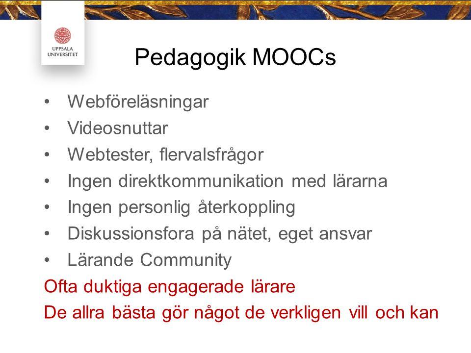 Pedagogik MOOCs Webföreläsningar Videosnuttar Webtester, flervalsfrågor Ingen direktkommunikation med lärarna Ingen personlig återkoppling Diskussionsfora på nätet, eget ansvar Lärande Community Ofta duktiga engagerade lärare De allra bästa gör något de verkligen vill och kan