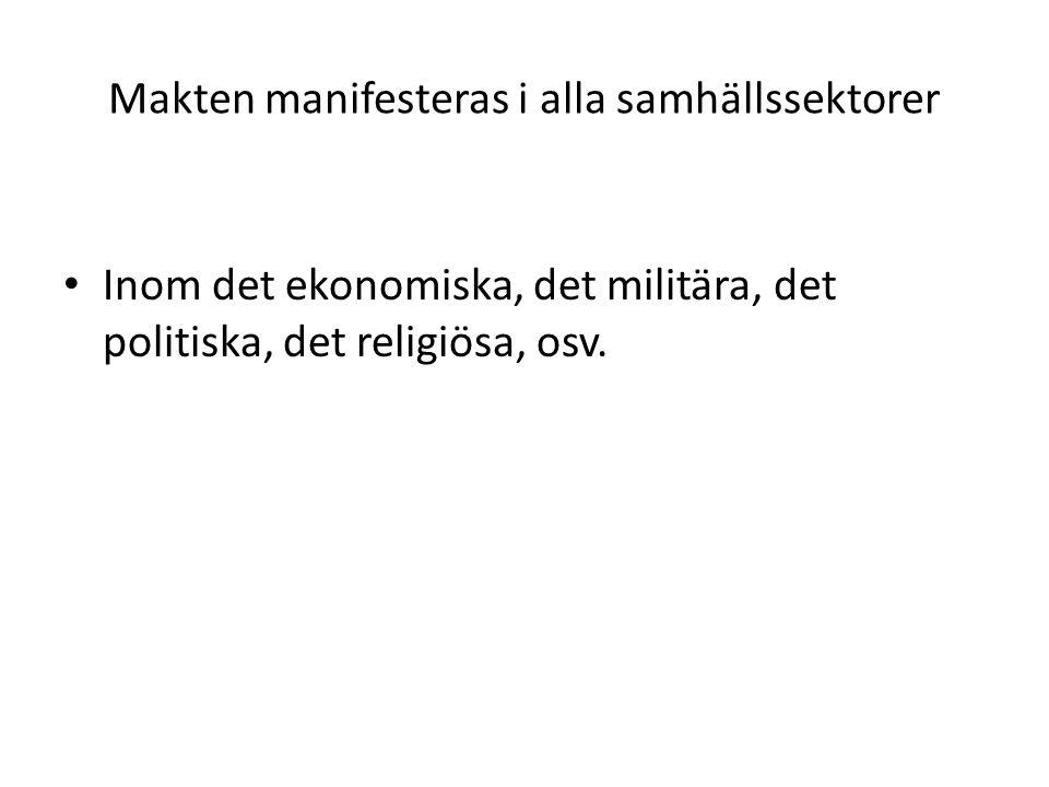 Makten manifesteras i alla samhällssektorer Inom det ekonomiska, det militära, det politiska, det religiösa, osv.