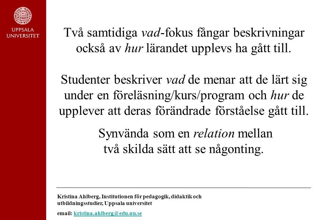 Kristina Ahlberg, Institutionen för pedagogik, didaktik och utbildningsstudier, Uppsala universitet email: kristina.ahlberg@edu.uu.sekristina.ahlberg@edu.uu.se Tack för Er uppmärksamhet.