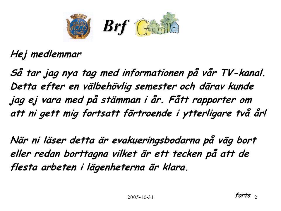 2005-10-312 Brf. Hej medlemmar Så tar jag nya tag med informationen på vår TV-kanal.