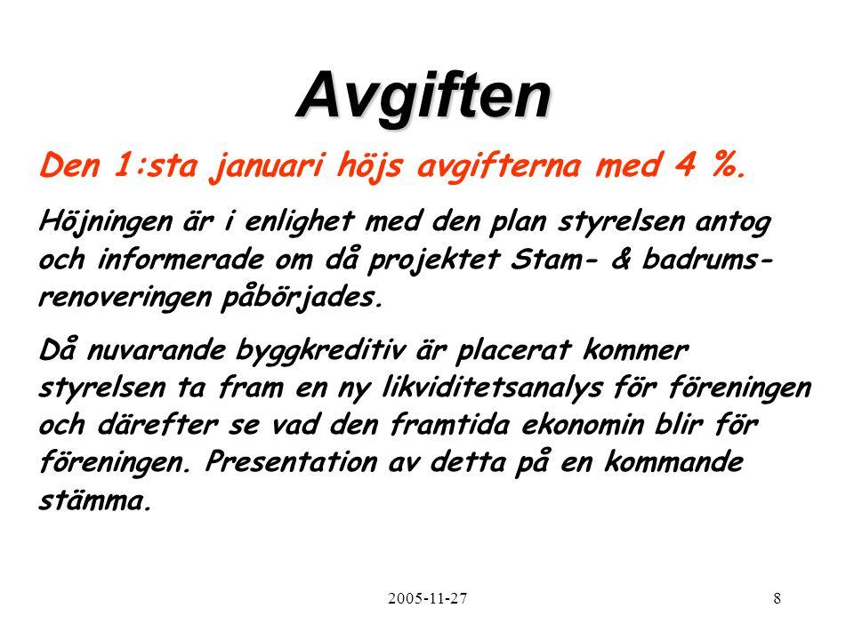 2005-11-278 Avgiften Den 1:sta januari höjs avgifterna med 4 %.