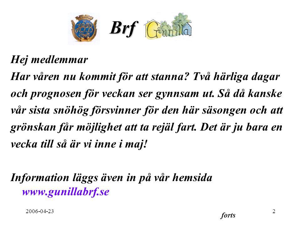 2006-04-232 Brf. Hej medlemmar Har våren nu kommit för att stanna.