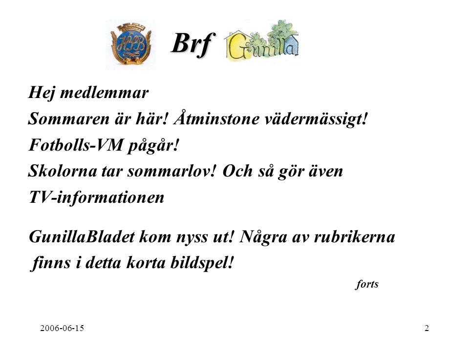 2006-06-152 Brf. Hej medlemmar Sommaren är här. Åtminstone vädermässigt.