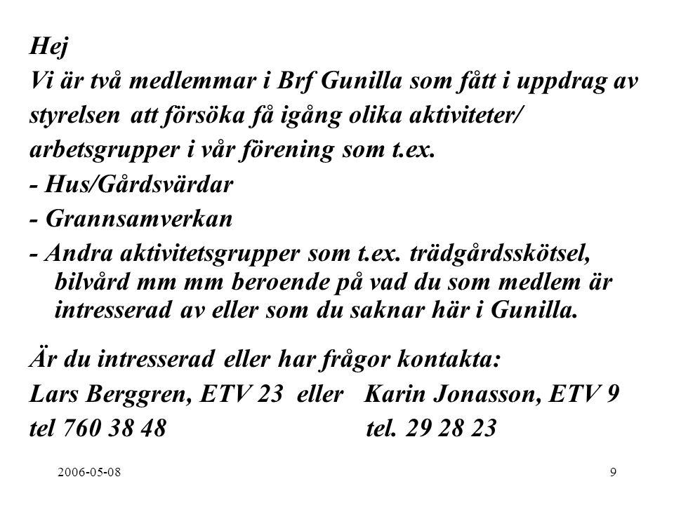2006-05-089 Hej Vi är två medlemmar i Brf Gunilla som fått i uppdrag av styrelsen att försöka få igång olika aktiviteter/ arbetsgrupper i vår förening som t.ex.