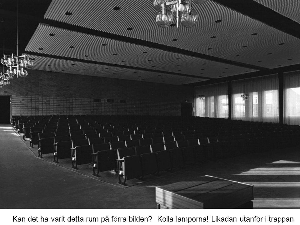 Kan det ha varit detta rum på förra bilden? Kolla lamporna! Likadan utanför i trappan