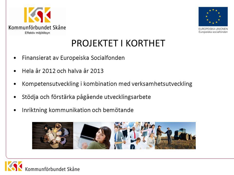 PROJEKTET I KORTHET Finansierat av Europeiska Socialfonden Hela år 2012 och halva år 2013 Kompetensutveckling i kombination med verksamhetsutveckling Stödja och förstärka pågående utvecklingsarbete Inriktning kommunikation och bemötande