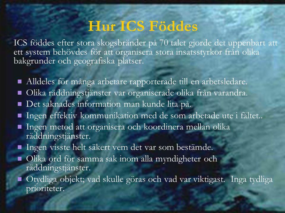 Hur ICS Föddes ICS föddes efter stora skogsbränder på 70 talet gjorde det uppenbart att ett system behövdes för att organisera stora insatsstyrkor från olika bakgrunder och geografiska platser.