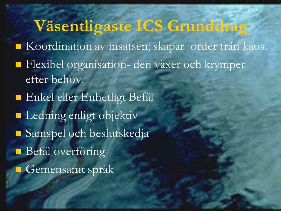 Väsentligaste ICS Grunddrag Koordination av insatsen; skapar order från kaos.