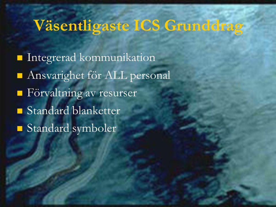 Väsentligaste ICS Grunddrag Integrerad kommunikation Ansvarighet för ALL personal Förvaltning av resurser Standard blanketter Standard symboler