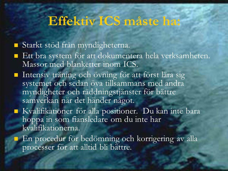 Effektiv ICS måste ha: Starkt stöd från myndigheterna.