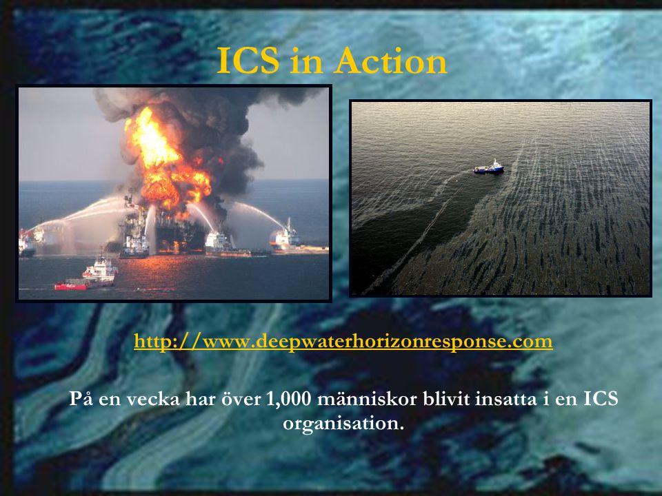 ICS in Action http://www.deepwaterhorizonresponse.com På en vecka har över 1,000 människor blivit insatta i en ICS organisation.