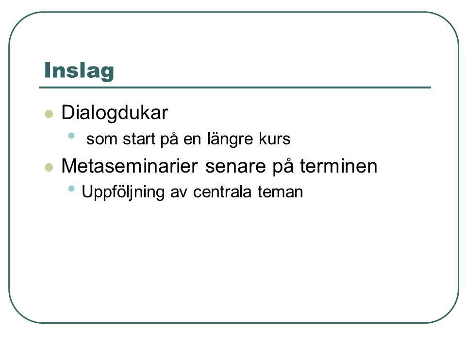 Inslag Dialogdukar som start på en längre kurs Metaseminarier senare på terminen Uppföljning av centrala teman