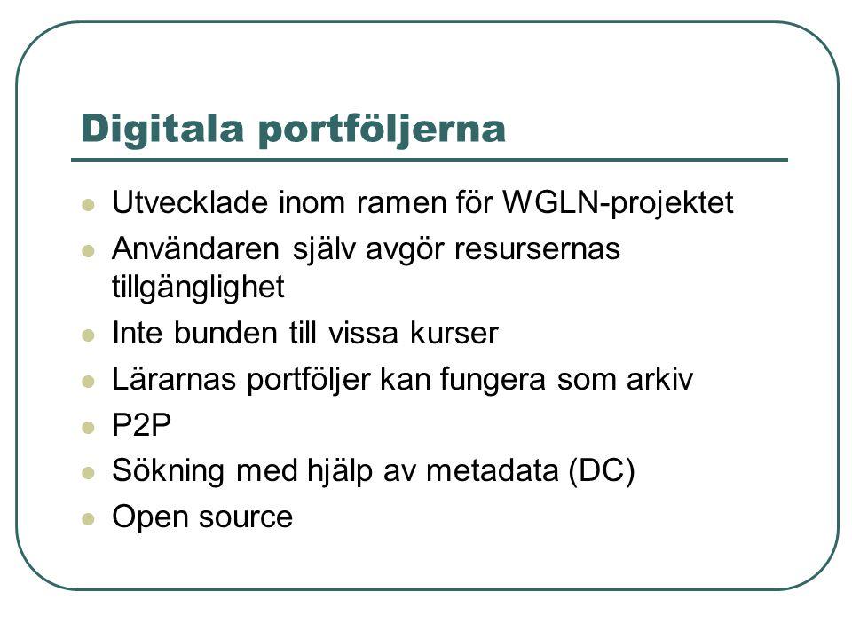 Digitala portföljerna Utvecklade inom ramen för WGLN-projektet Användaren själv avgör resursernas tillgänglighet Inte bunden till vissa kurser Lärarnas portföljer kan fungera som arkiv P2P Sökning med hjälp av metadata (DC) Open source