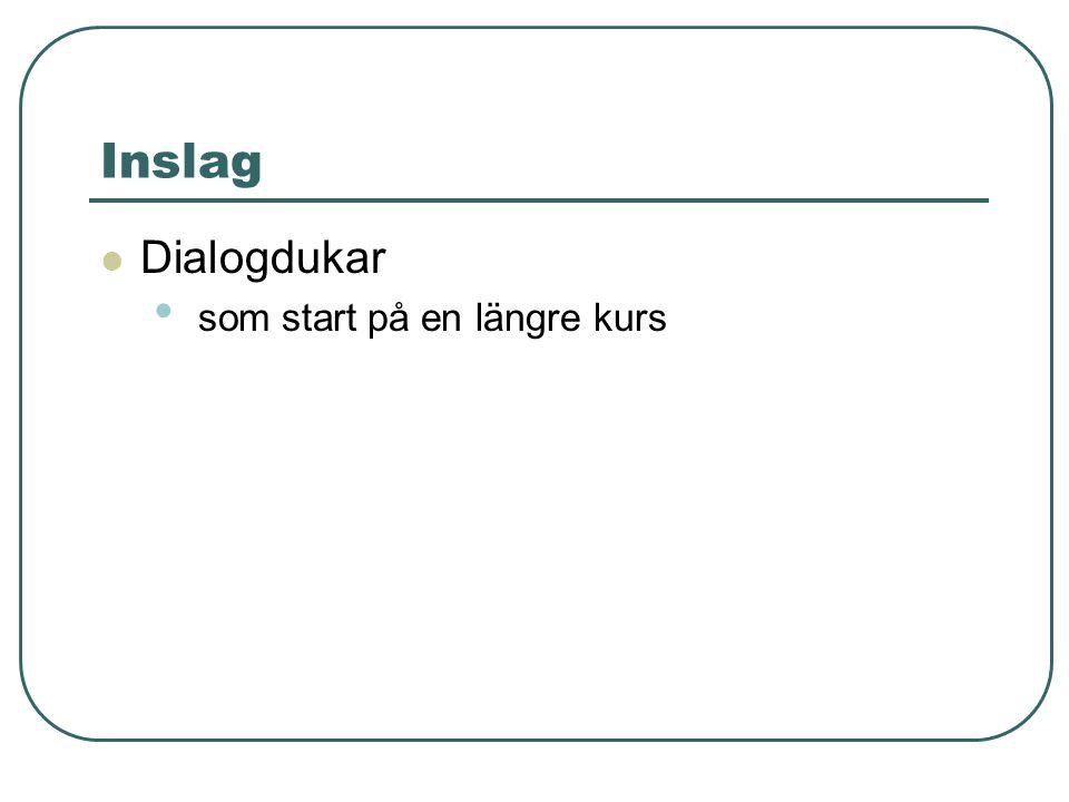 Inslag Dialogdukar som start på en längre kurs