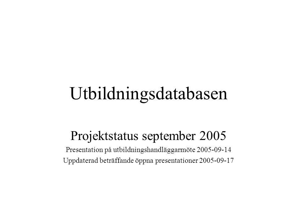 Utbildningsdatabasen Projektstatus september 2005 Presentation på utbildningshandläggarmöte 2005-09-14 Uppdaterad beträffande öppna presentationer 200