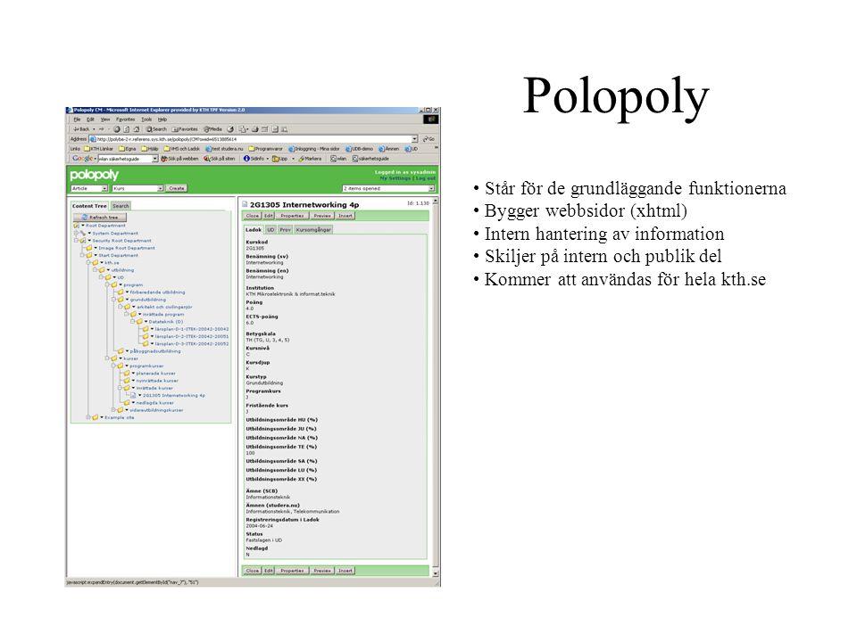 Polopoly Står för de grundläggande funktionerna Bygger webbsidor (xhtml) Intern hantering av information Skiljer på intern och publik del Kommer att a