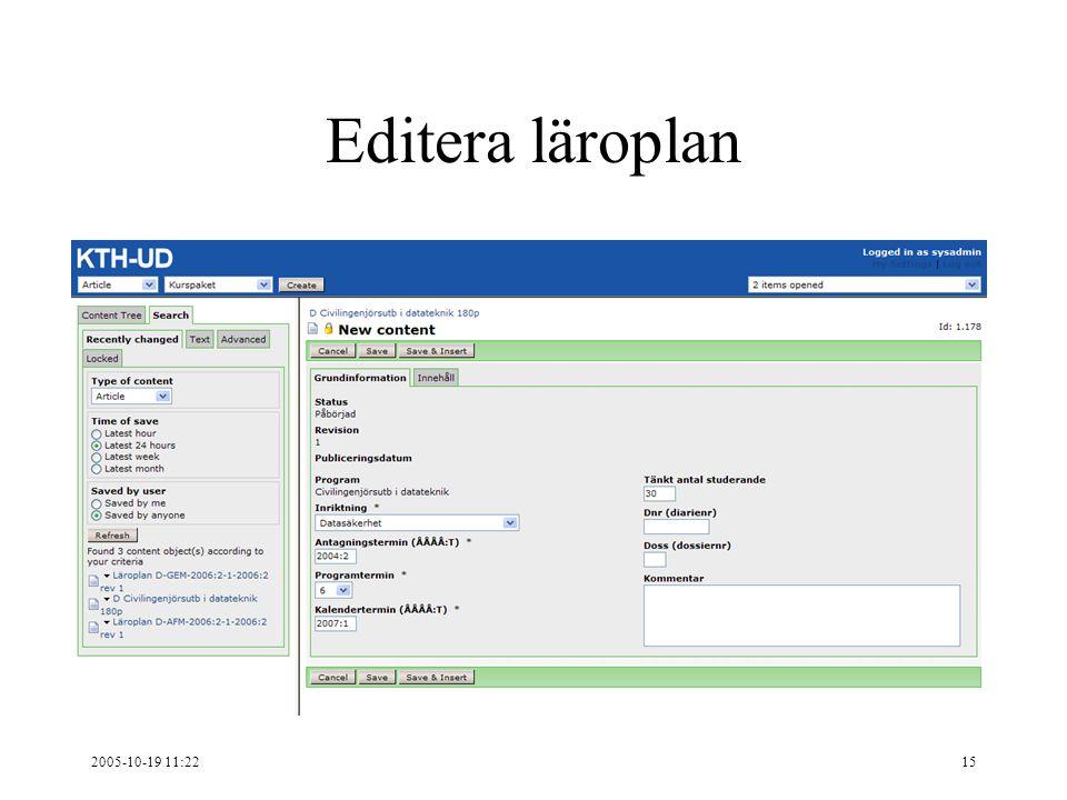 2005-10-19 11:2215 Editera läroplan
