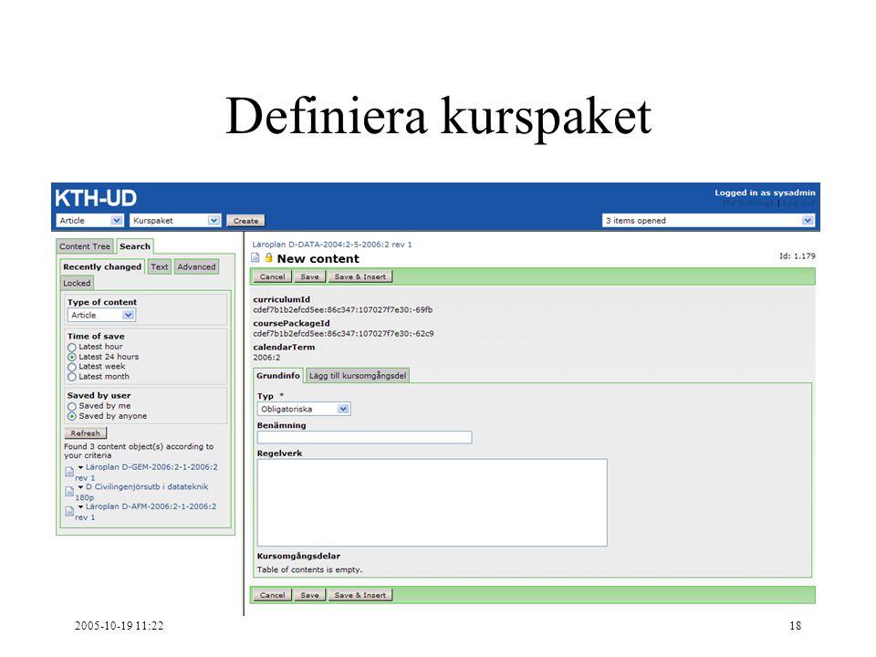 2005-10-19 11:2218 Definiera kurspaket