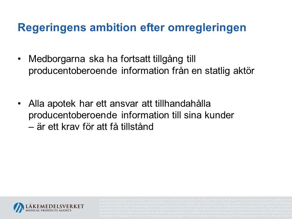 Regeringens ambition efter omregleringen Medborgarna ska ha fortsatt tillgång till producentoberoende information från en statlig aktör Alla apotek ha