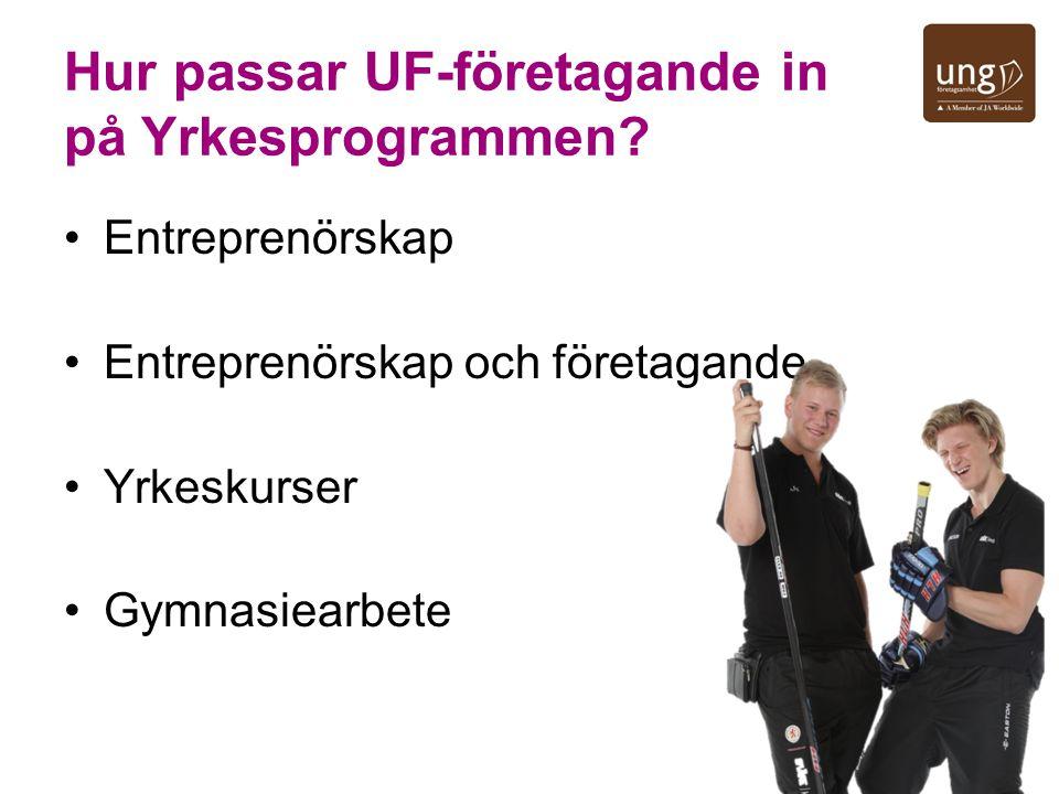 Hur passar UF-företagande in på Yrkesprogrammen? Entreprenörskap Entreprenörskap och företagande Yrkeskurser Gymnasiearbete