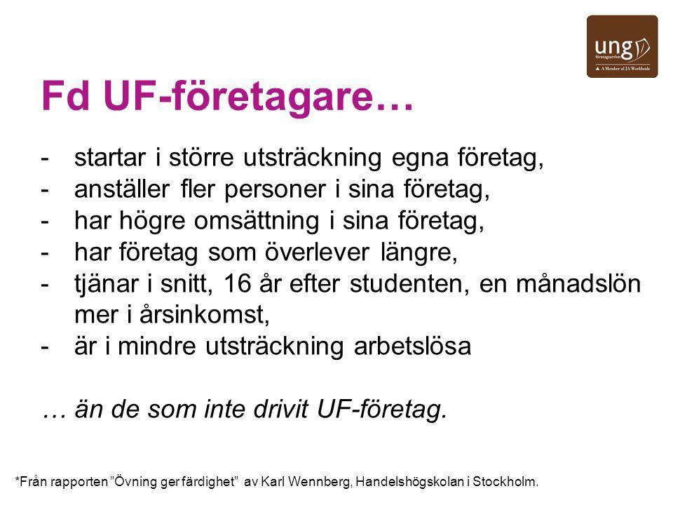 Fd UF-företagare… -startar i större utsträckning egna företag, -anställer fler personer i sina företag, -har högre omsättning i sina företag, -har för
