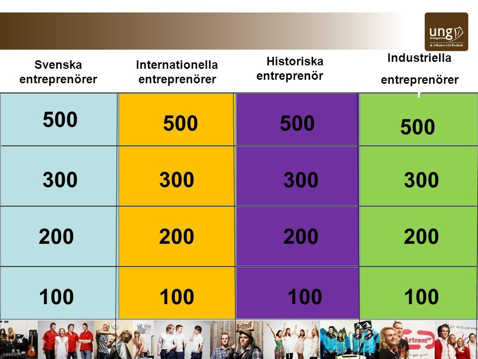 Svenska entreprenörer Internationella entreprenörer Historiska entreprenörer Industriella entreprenörer r 500 300 100 200 100 200