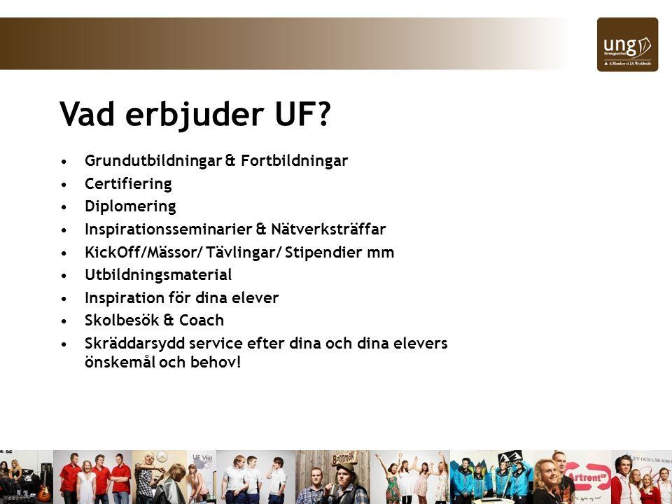 Vad erbjuder UF? Grundutbildningar & Fortbildningar Certifiering Diplomering Inspirationsseminarier & Nätverksträffar KickOff/Mässor/ Tävlingar/ Stipe