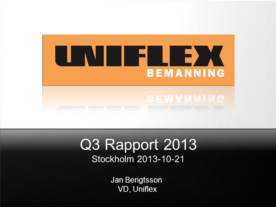 Q3 Rapport 2013 Stockholm 2013-10-21 Jan Bengtsson VD, Uniflex