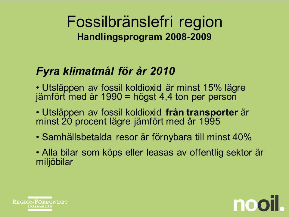 Fossilbränslefri region Handlingsprogram 2008-2009 Fyra klimatmål för år 2010 Utsläppen av fossil koldioxid är minst 15% lägre jämfört med år 1990 = h