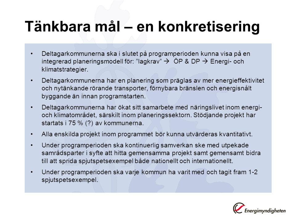 Tänkbara mål – en konkretisering Deltagarkommunerna ska i slutet på programperioden kunna visa på en integrerad planeringsmodell för: lagkrav  ÖP & DP  Energi- och klimatstrategier.