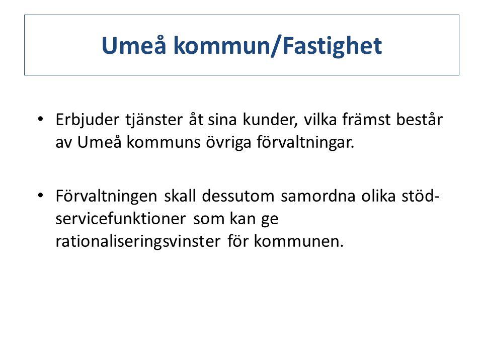 Umeå kommun/Fastighet Erbjuder tjänster åt sina kunder, vilka främst består av Umeå kommuns övriga förvaltningar.