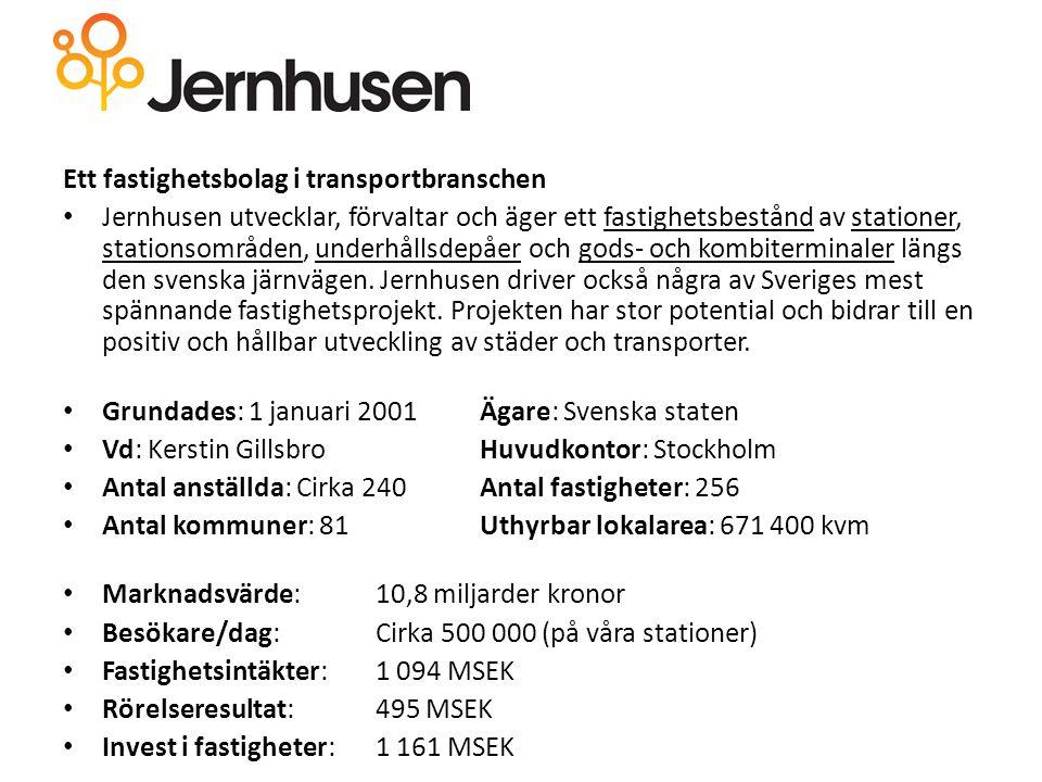 Ett fastighetsbolag i transportbranschen Jernhusen utvecklar, förvaltar och äger ett fastighetsbestånd av stationer, stationsområden, underhållsdepåer och gods- och kombiterminaler längs den svenska järnvägen.