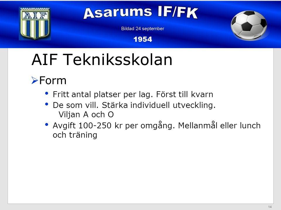 AIF Tekniksskolan  Form Fritt antal platser per lag.