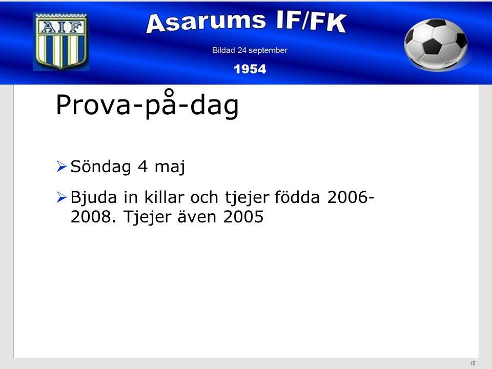 Prova-på-dag  Söndag 4 maj  Bjuda in killar och tjejer födda 2006- 2008. Tjejer även 2005 18