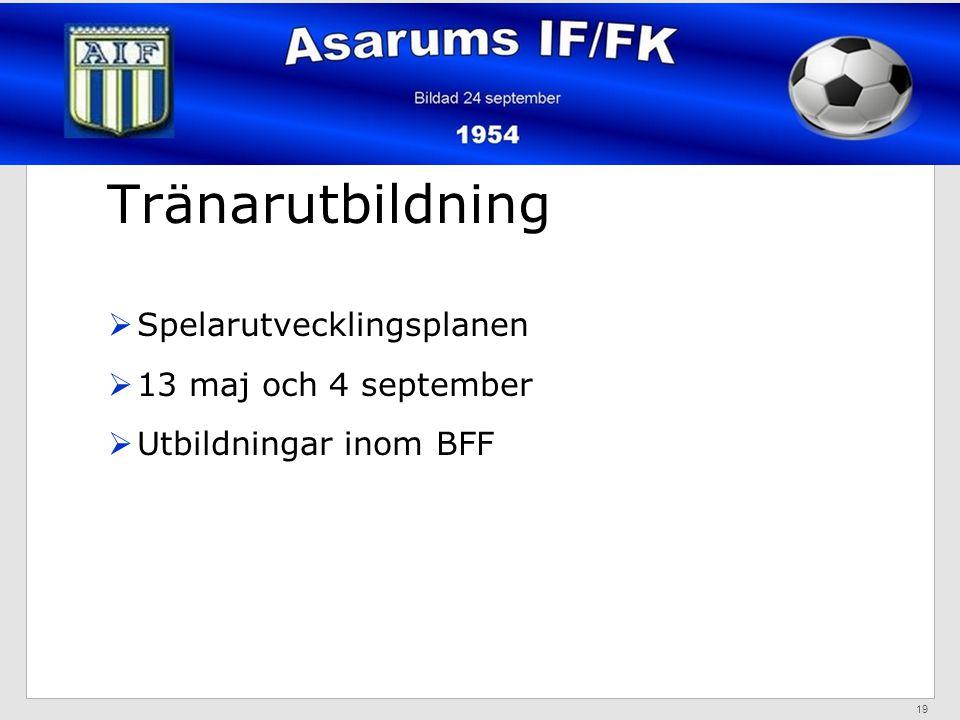 Tränarutbildning  Spelarutvecklingsplanen  13 maj och 4 september  Utbildningar inom BFF 19