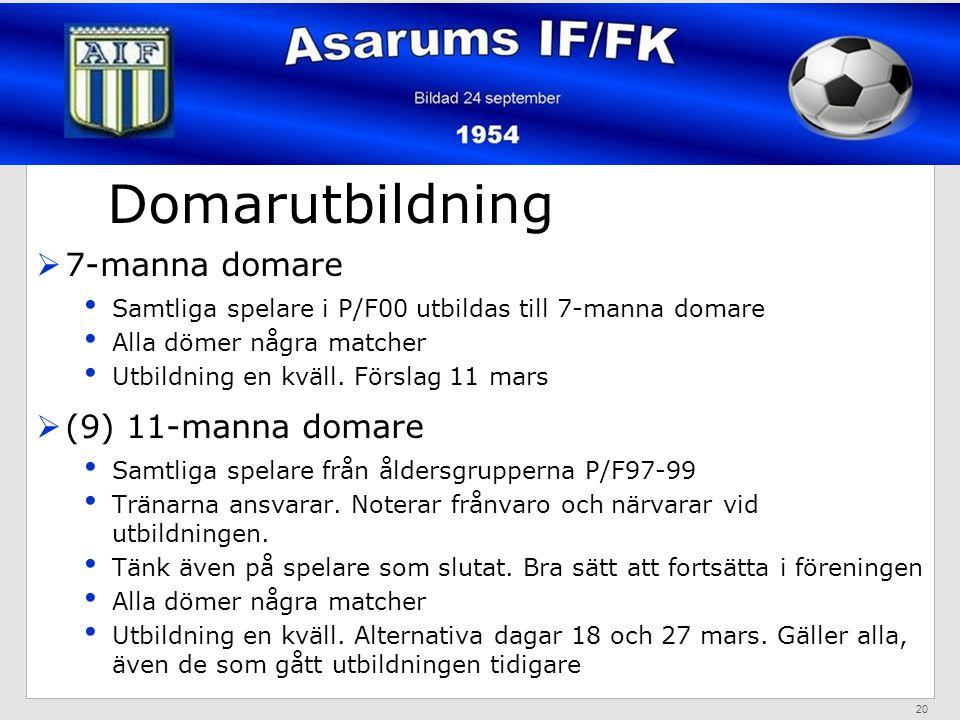 Domarutbildning  7-manna domare Samtliga spelare i P/F00 utbildas till 7-manna domare Alla dömer några matcher Utbildning en kväll.