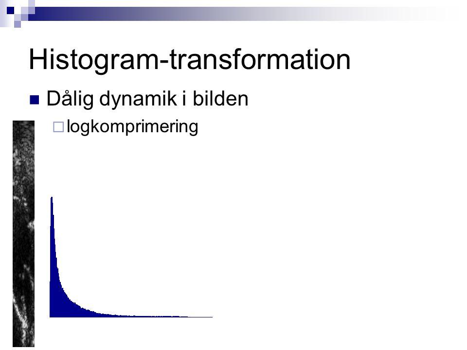 Histogram-transformation Dålig dynamik i bilden  logkomprimering